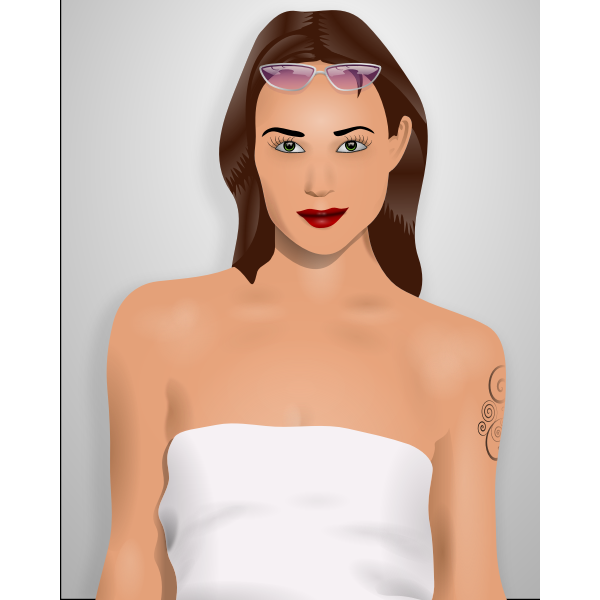 Vector graphics of attractive girl in a white dress