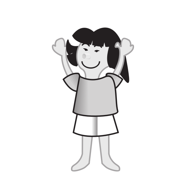 Female with hands up vector image