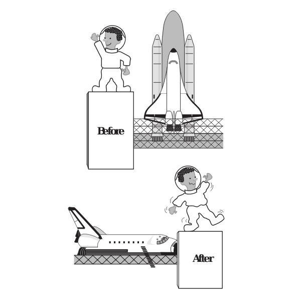Space shuttle and astronout vector image