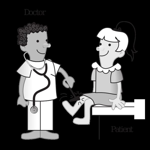 Vector cartoon clip art of doctor and patient
