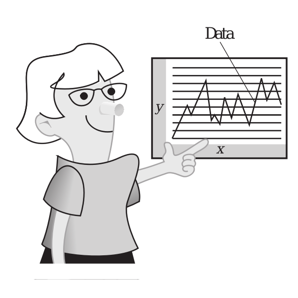 Woman presenting data vector illustration
