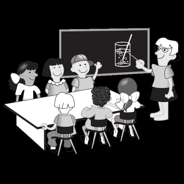Kids in classroom vector illustration