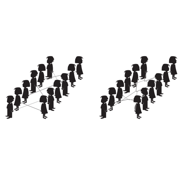 Vector image of kids in rows