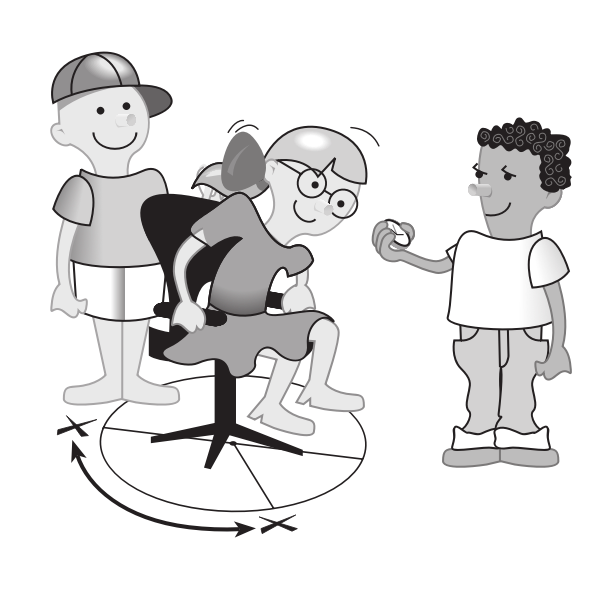 Three kids playing on chair vector image