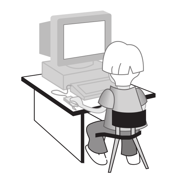 Kid at computer table vector illustration