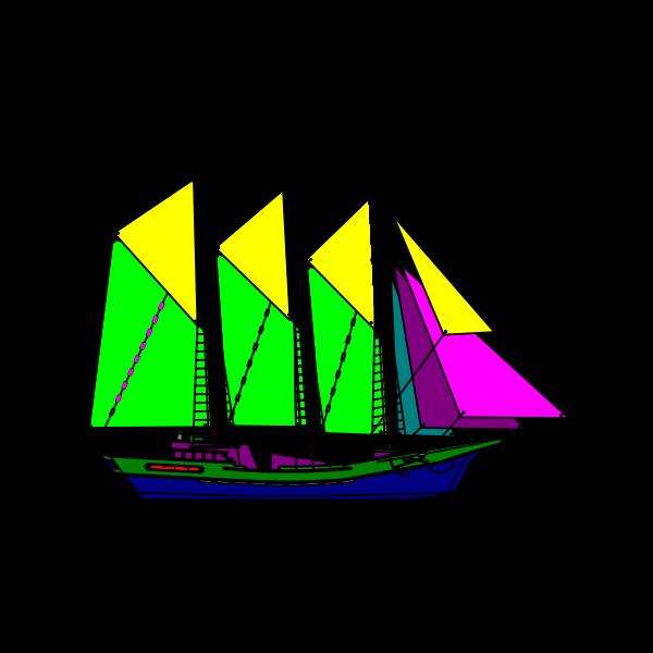 Colorful sailing ship vector drawing