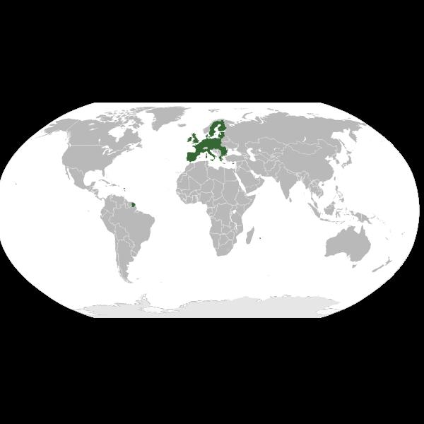Europe highlighted on a worldmap vector illustration