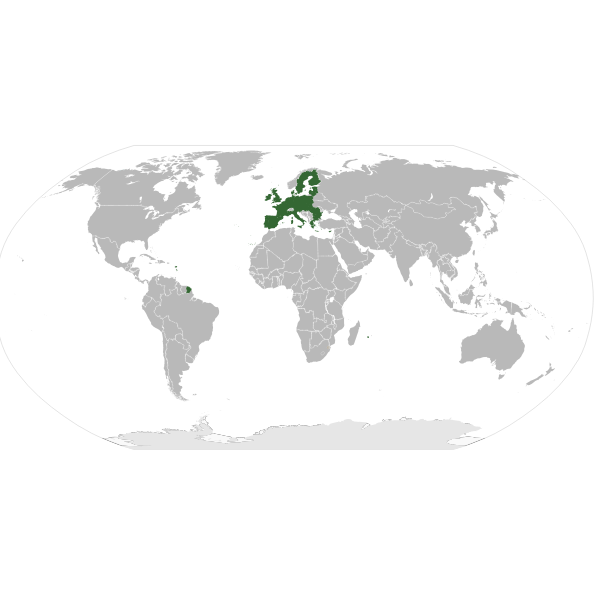 Europe highlighted on a worldmap vector illustration