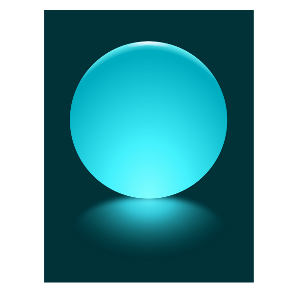 Cyan Sphere Blurred Reflection