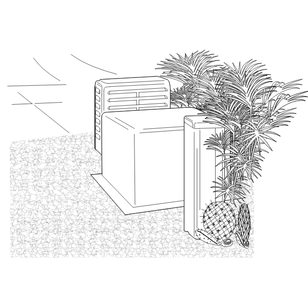 Vector image of plants on exterior of building