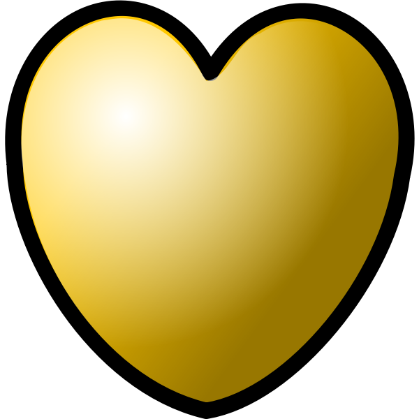 Vector illustration of gold heart with thick line border