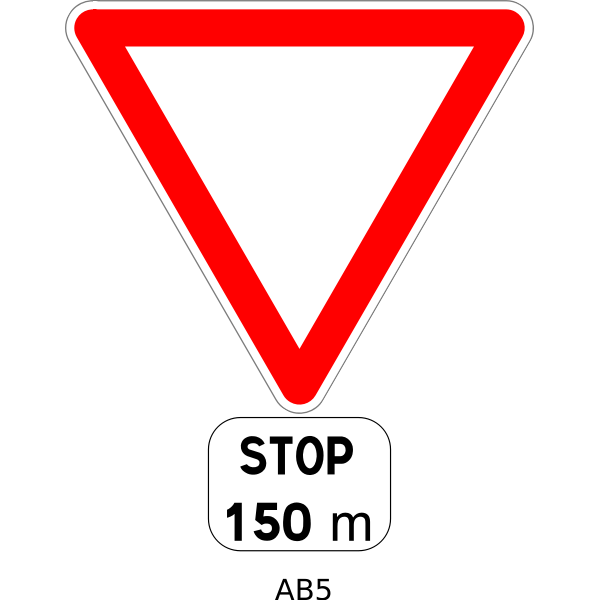 Stop in 150m road sign vector image