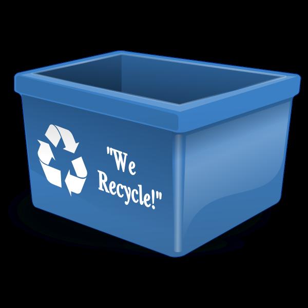 Vector illustration of blue plastic recycling bin