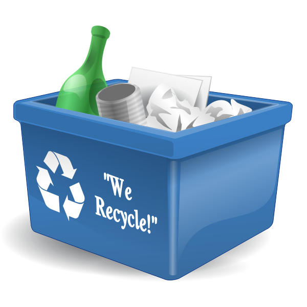 Photorealistic recycling bin full of waste vector graphics