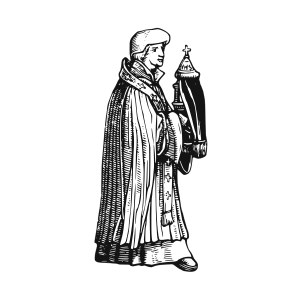 Medieval priest with sacrament vector