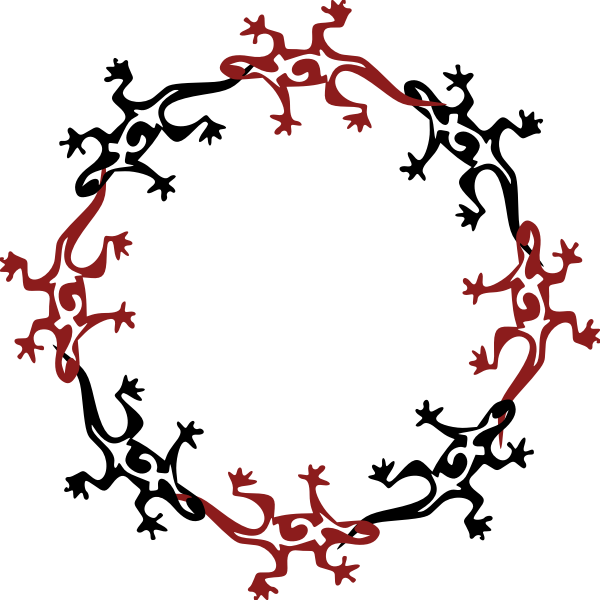 Lizard round pattern vector graphics