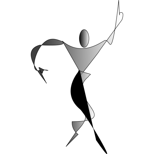 ex<x>pressionist silhouette of dancing woman vector clip art