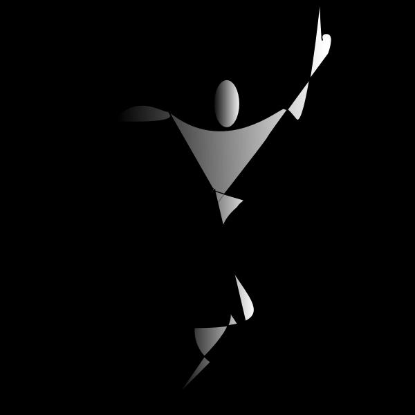 ex<x>pressionist silhouette of dancing woman vector clip art