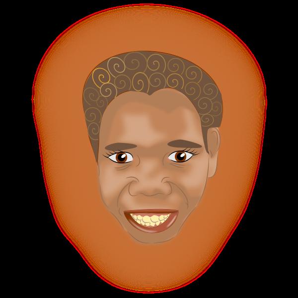 Aboriginal boy portrait vector clip art