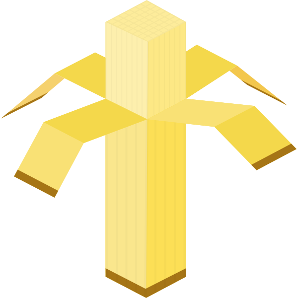 Vector clip art of square peeled banana