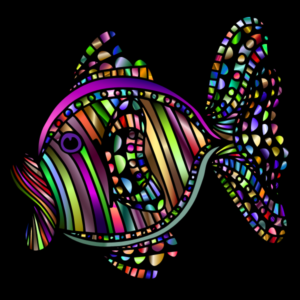 Abstract Colorful Fish 3 With Background