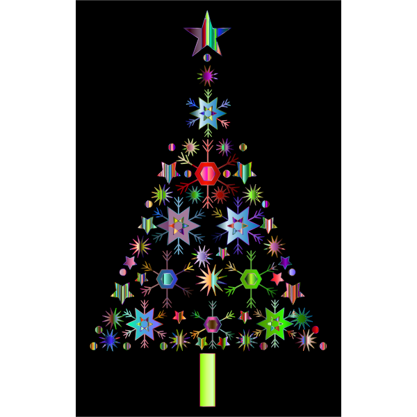 Abstract Snowflake Christmas Tree By Karen Arnold Prismatic 2