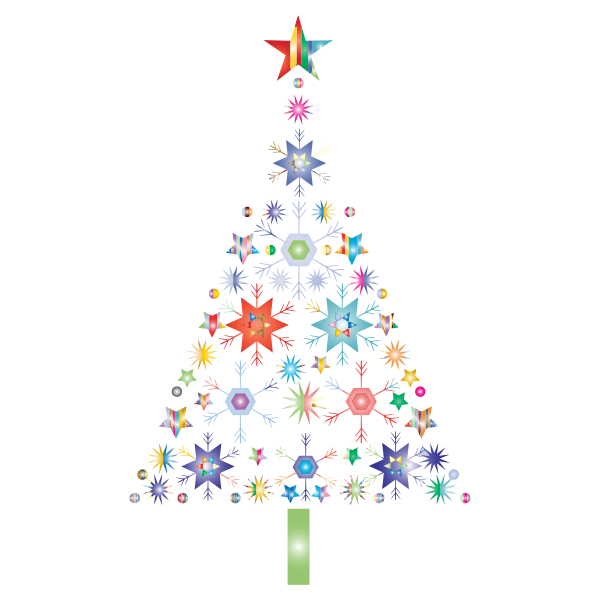 Abstract Snowflake Christmas Tree By Karen Arnold Prismatic No Background