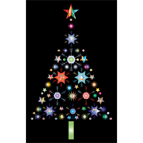 Abstract Snowflake Christmas Tree By Karen Arnold Prismatic