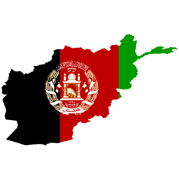 Afghanistan's flag and map