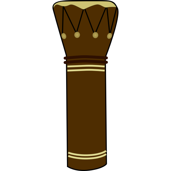Vector illustration of skin covered African drum