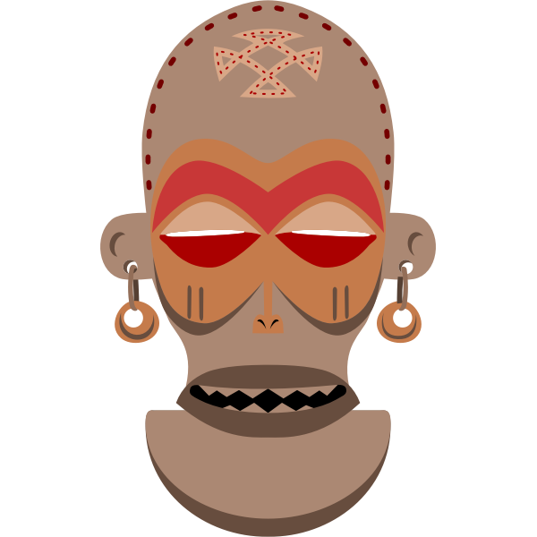 Vector image of Chokwe African mask