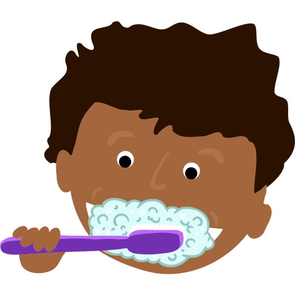 African kid brushing teeth | Free SVG