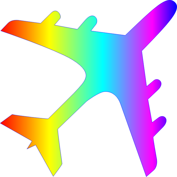 Airplane silhouette rainbow colors