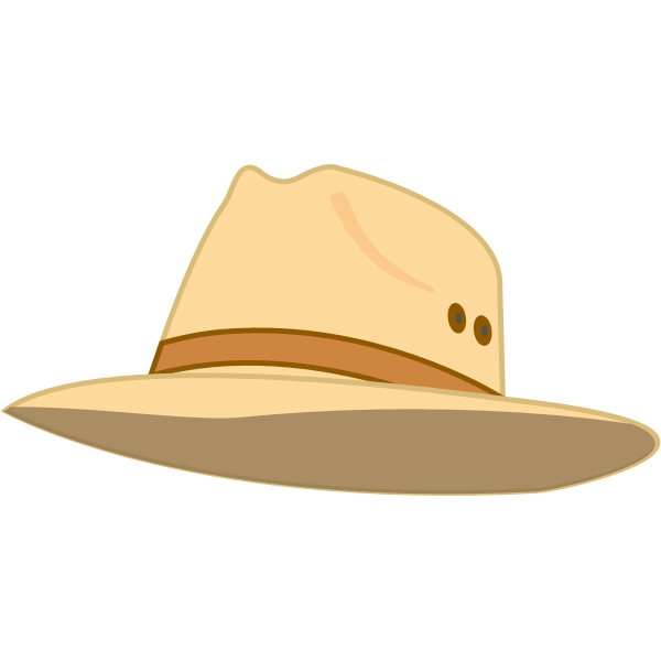 Wide rim beige hat vector illustration