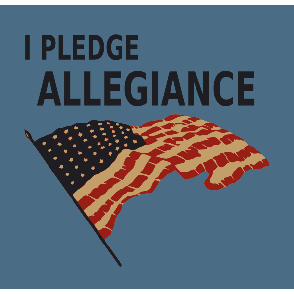 Pledge allegiance with US flag