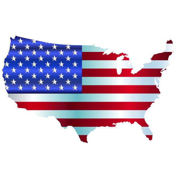 America's flag and map