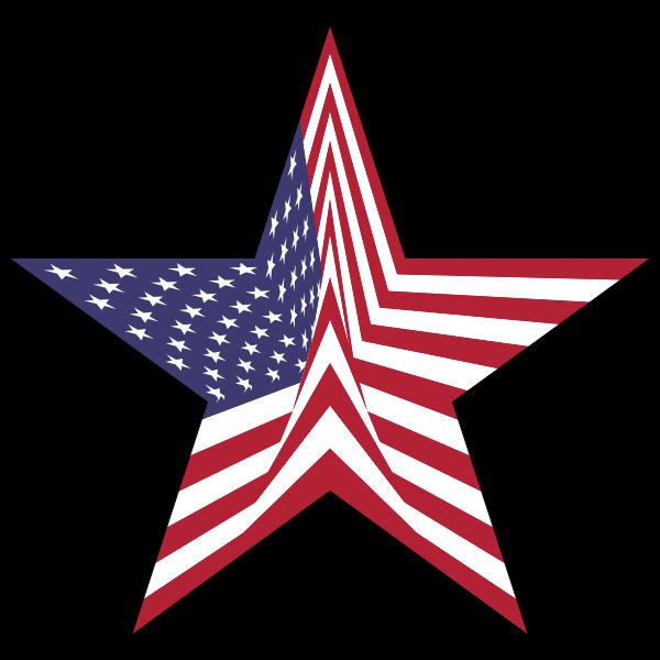 America Flag Star With Stroke