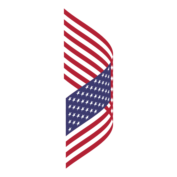 Flapping American flag