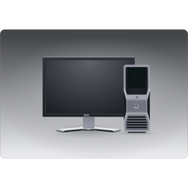 Computer CPU and monitor vector iamge