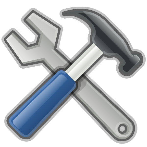 Hammer and spanner tools vector image