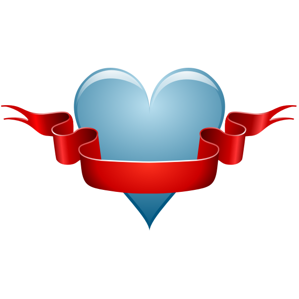 Vector illustration of heart and ribbon