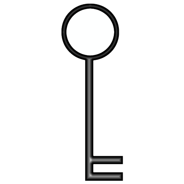 Vector image of two teeth door key