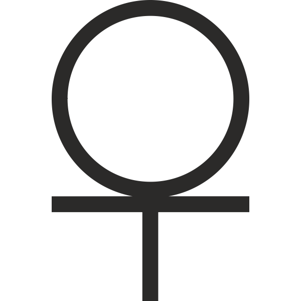 Ankh cross 3/4 Below Circle hieroglyph vector image