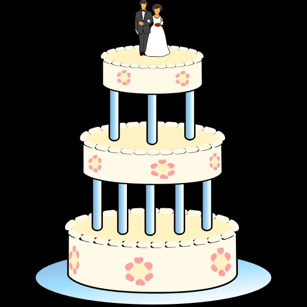 Drawing of three level wedding cake