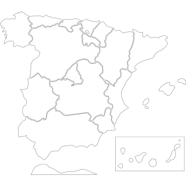 Vector image of map of Spanish regions