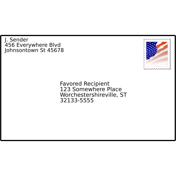 Vector illustration of addressed envelope with stamp