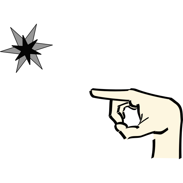 Finger pointing to color star