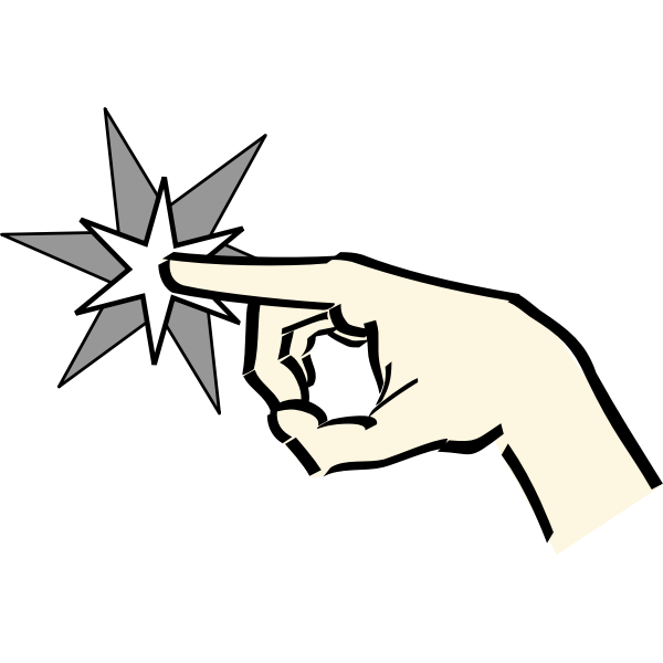 Finger pointing to a star