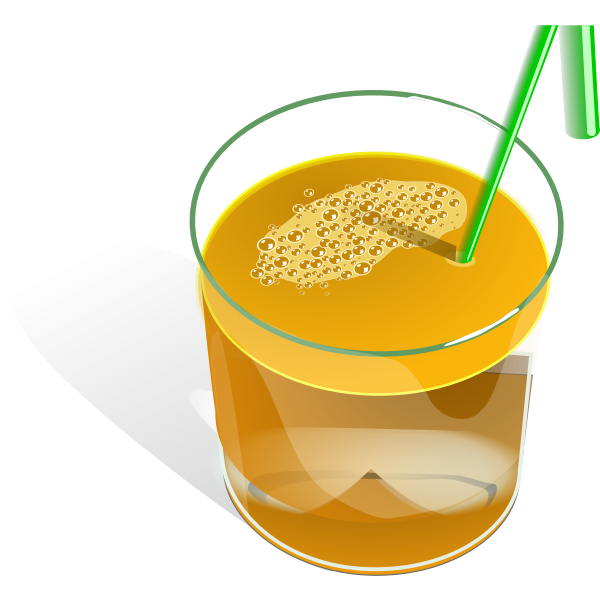 Vector drawing of juice in a glass with green straw