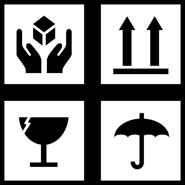 Vector image of set of package handling symbols